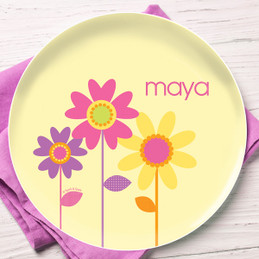 Three ring Blooms Personalized Plates For Kids