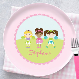 Three Cheerleaders Personalized Melamine Plates