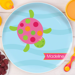 Swimming Pink Turtle Personalized Dishes