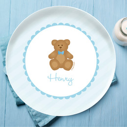 Cute Blue Teddy Bear Personalized Kids Plates