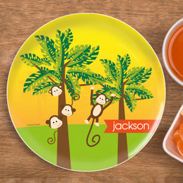 Monkeys in the Jungle Personalized Plates For Kids