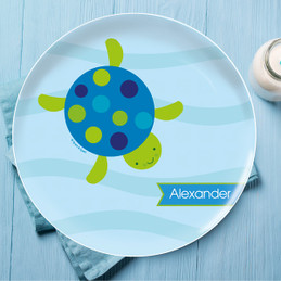 Swimming Blue Turtle Personalized Melamine Plates