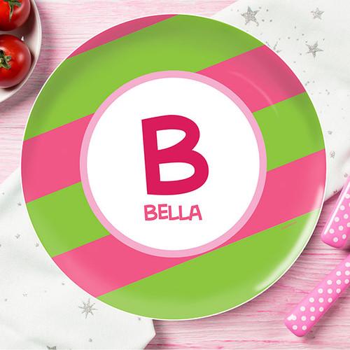 Fun Initials Pink Kids Plate
