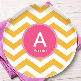 Mustard and Pink Chevron Kids Plate