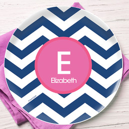 Blue and Pink Chevron Kids Plate