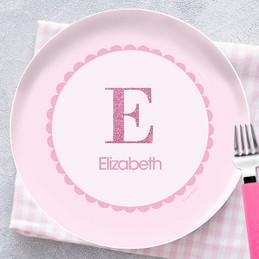 A Shiny Pink Letter Kids Plate  sc 1 st  Spark \u0026 Spark & Personalized Kids Dinnerware For Girls by Spark \u0026 Spark
