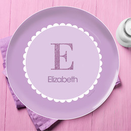 A Shiny Purple Letter Kids Plate