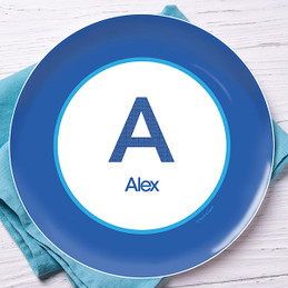 A Linen Blue Letter Kids Plate