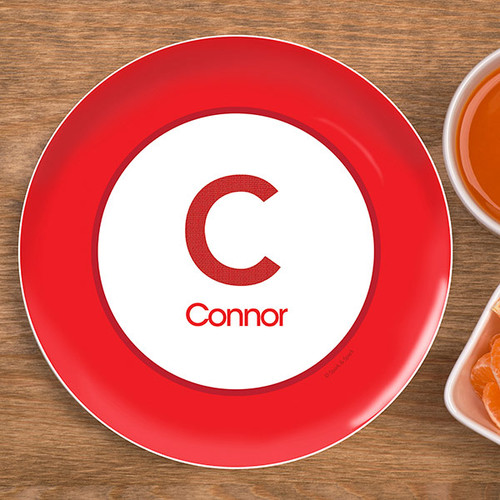 A Linen Red Letter Kids Plate