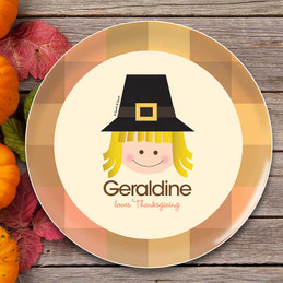 Cute Pilgrim Girl Kids Plate