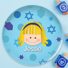 Hanukkah Joy Girl Kids Plate