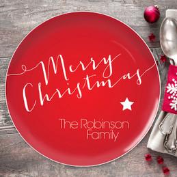 Merry Christmas Message Christmas Plate