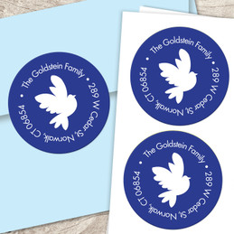 Modern dove of peace label