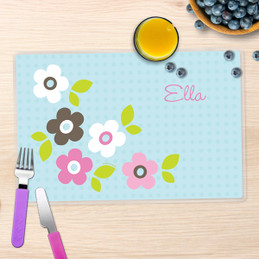 Preppy Flowers Blue Placemat