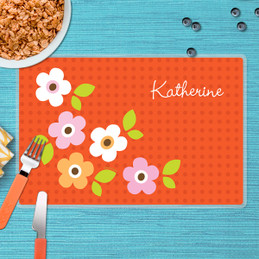 Preppy Flowers Orange Kids Placemat