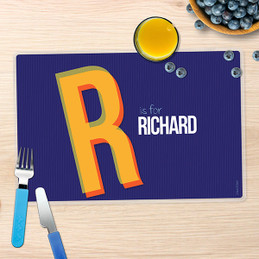 Double Initial Blue Kids Placemat