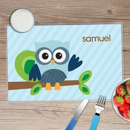 Owl Be Yours Blue Kids Placemat