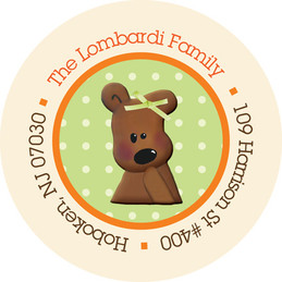 Baby Return Address Labels - Cuddly Bear (Orange)