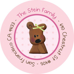 Cuddly Bear Pink Cute Return Address Labels