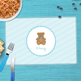Cute Blue Teddy Bear Kids Placemats