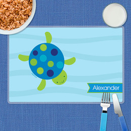 Swimming Blue Turtle Kids Placemat