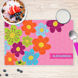 Shiny Bold Flowers Kids Placemat