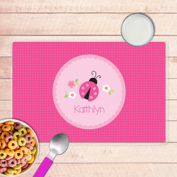 Sweet Pink Lady Bug Kids Placemat