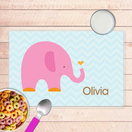 Sweet Pink Elephant Kids Placemat