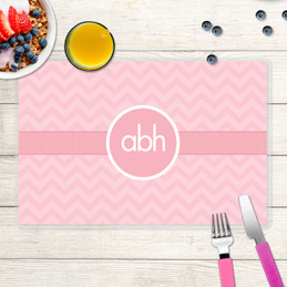 Initials on Chevron Kids Placemat