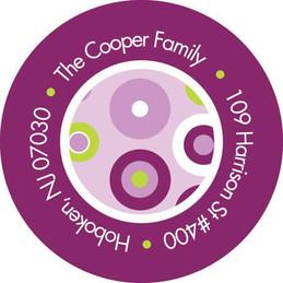 Purple Modern Circles Kids Address Labels