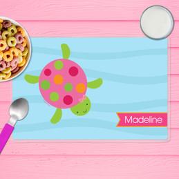 Swimming Pink Turtle Kids Placemat