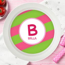 Fun Initials Pink Kids Bowl