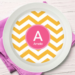 Mustard & Pink Chevron Kids Bowl
