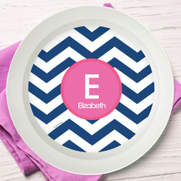 Blue & Pink Chevron Kids Bowl