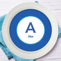 A Linen Blue Letter Kids Bowl