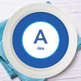 A Linen Blue Letter Kids Bowl