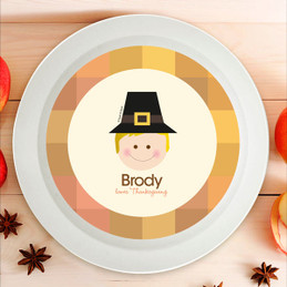Cute Pilgrim Boy Kids Bowl