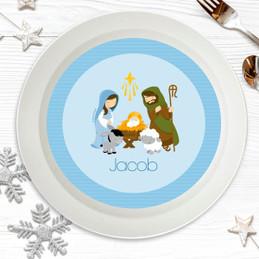 Nativity Set on Blue Kids Bowl