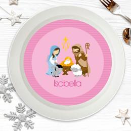 Nativity Set on Pink Kids Bowl