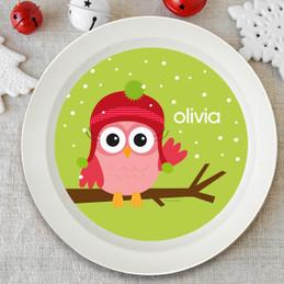 Xmas Baby Pink Owl Kids Bowl