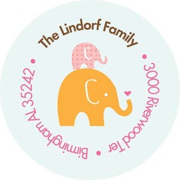 Mommy W Baby Elephant Baby Address Labels