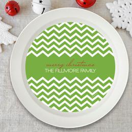 Fancy Zig Zags Green Holiday Bowl