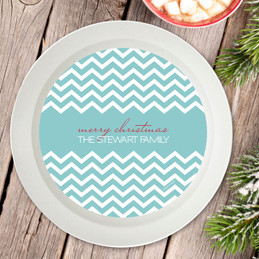 Fancy Zig Zags Blue Holiday Bowl