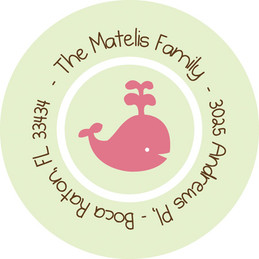 Childrens Address Labels - Play Baby Whale (Green)