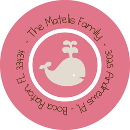 Fun Address Labels - Play Baby Whale (Pink)