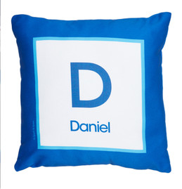A Linen Blue Letter Kids Pillows