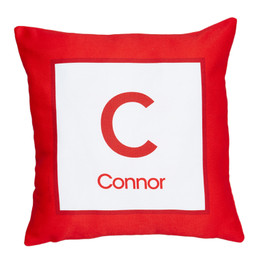 A Linen Red Letter Kids Pillows