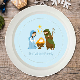 Sweet Blue Nativity Holiday Bowl