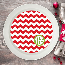 Chevron and Initials Holiday Bowl