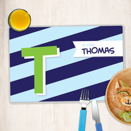 Brilliant Initial Blue Kids Placemat